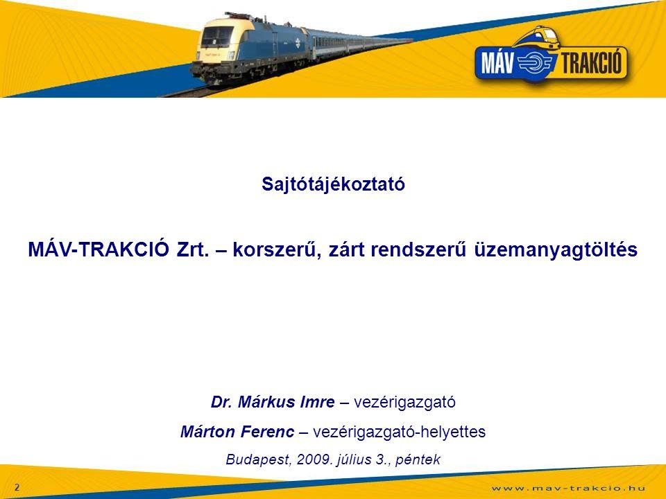 MÁV-TRAKCIÓ Zrt. – korszerű, zárt rendszerű üzemanyagtöltés