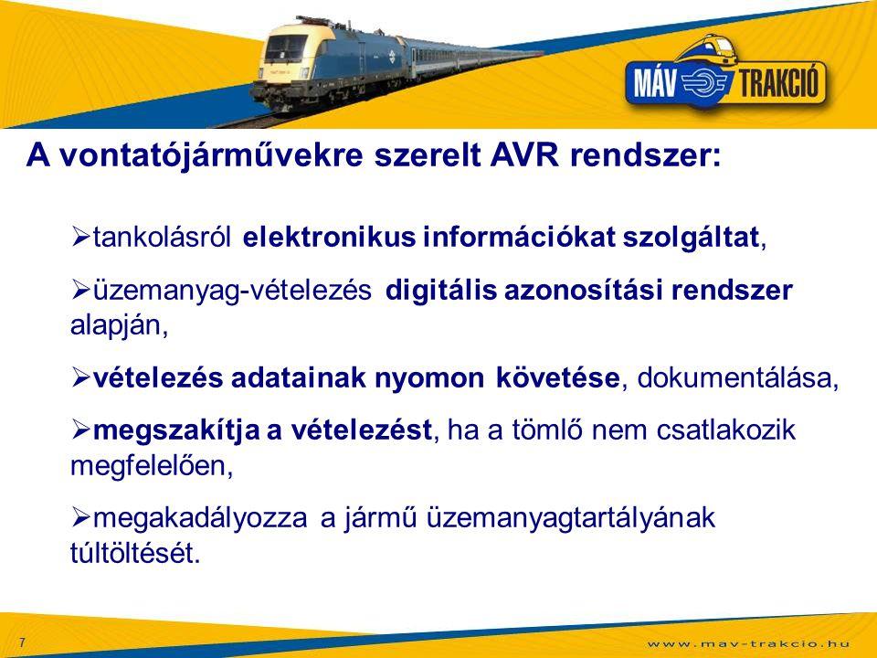 A vontatójárművekre szerelt AVR rendszer: