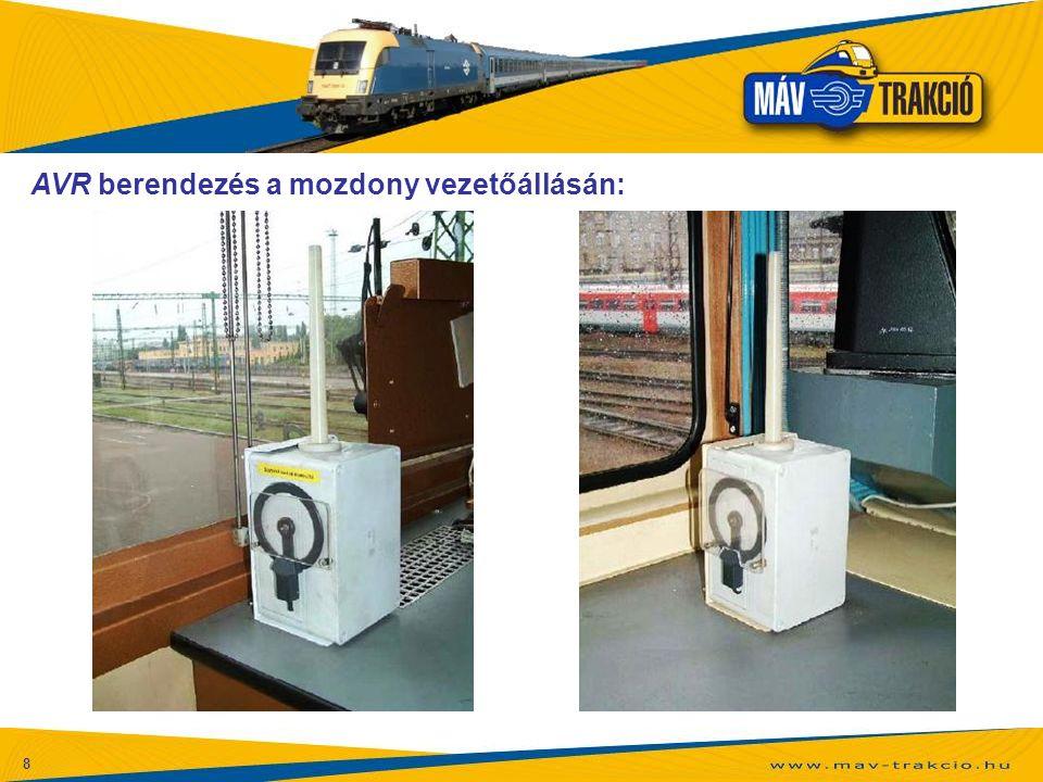 AVR berendezés a mozdony vezetőállásán: