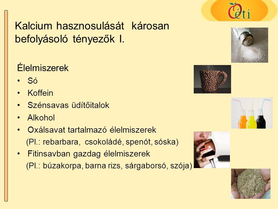 Kalcium hasznosulását károsan befolyásoló tényezők I.