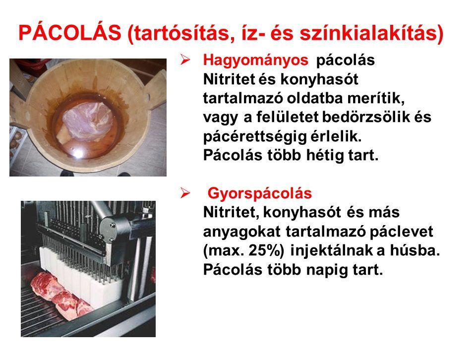PÁCOLÁS (tartósítás, íz- és színkialakítás)