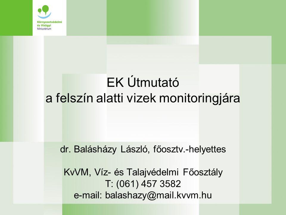 EK Útmutató a felszín alatti vizek monitoringjára
