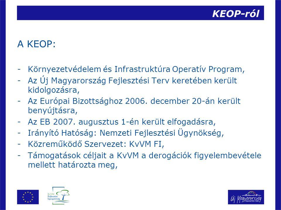 KEOP-ról A KEOP: Környezetvédelem és Infrastruktúra Operatív Program,
