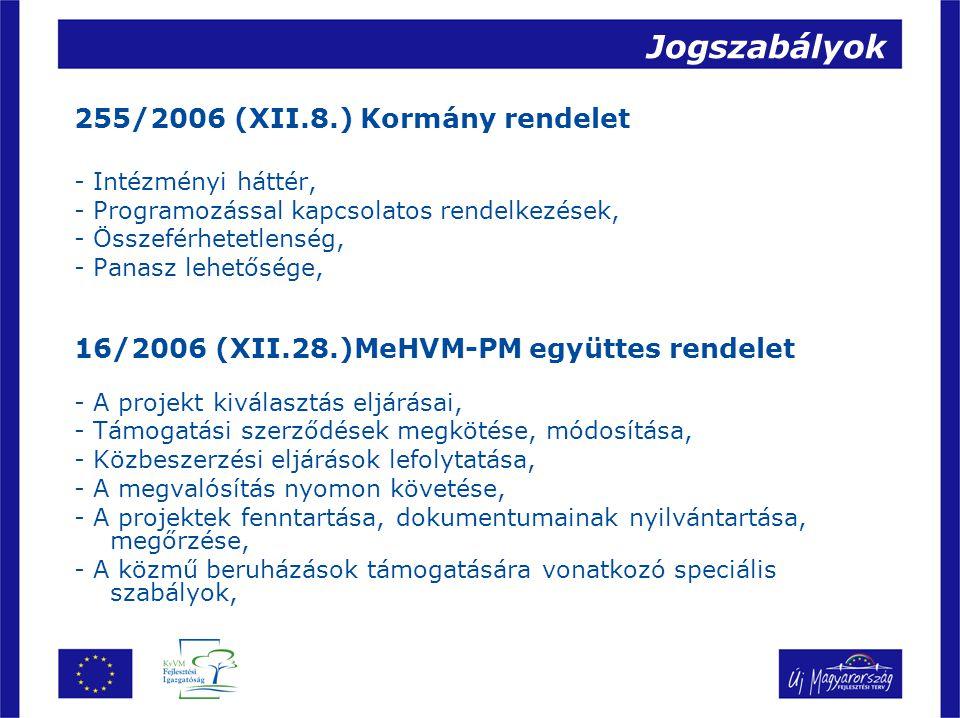 Jogszabályok 255/2006 (XII.8.) Kormány rendelet