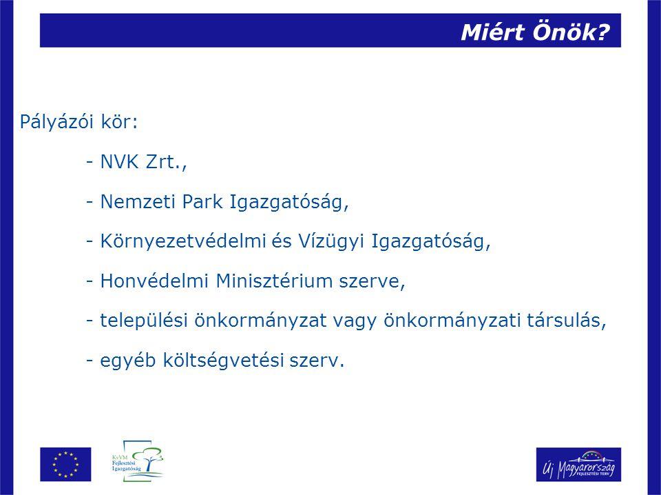 Miért Önök Pályázói kör: - NVK Zrt., - Nemzeti Park Igazgatóság,