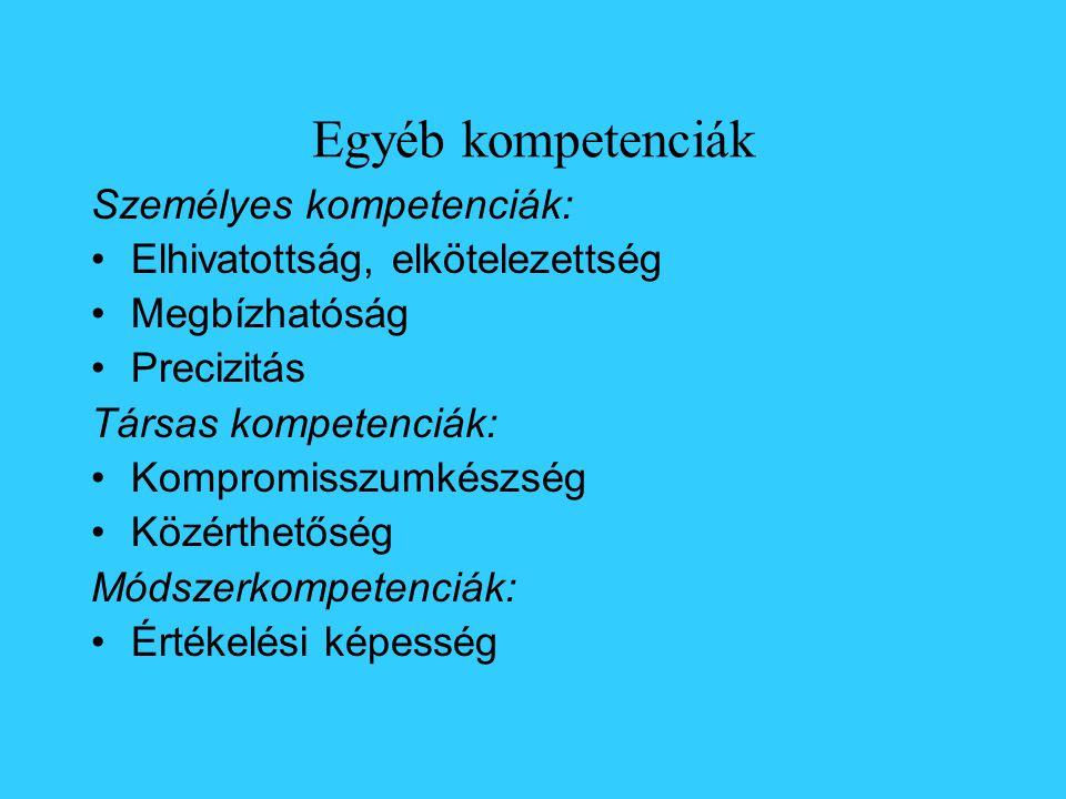 Egyéb kompetenciák Személyes kompetenciák: