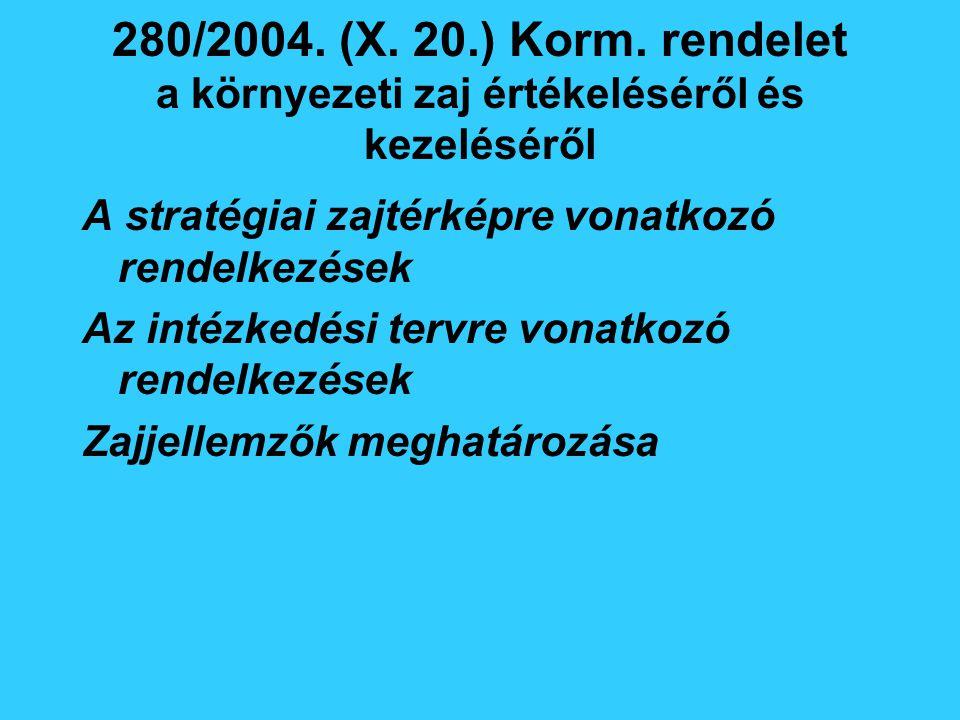 280/2004. (X. 20.) Korm. rendelet a környezeti zaj értékeléséről és kezeléséről