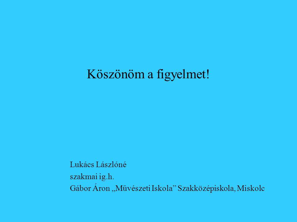 Köszönöm a figyelmet! Lukács Lászlóné szakmai ig.h.