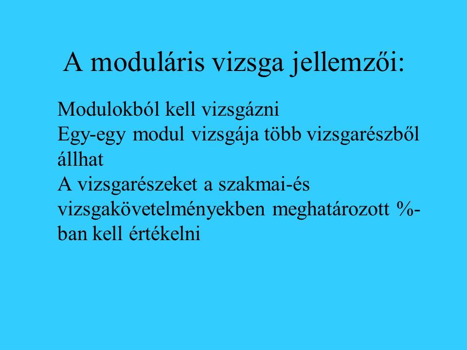 A moduláris vizsga jellemzői: