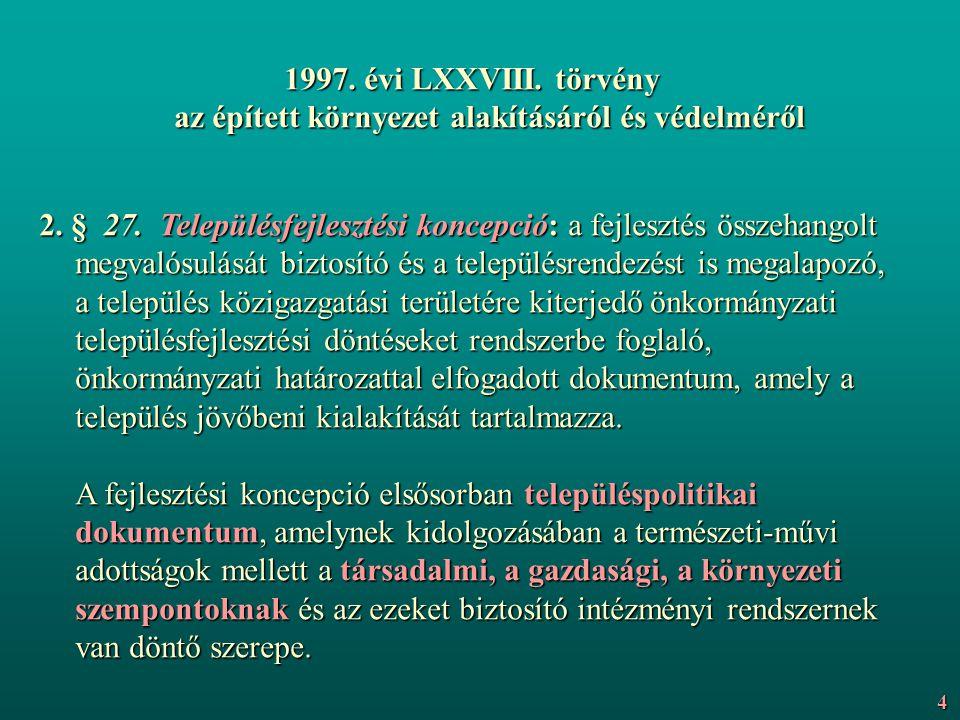 1997. évi LXXVIII. törvény az épített környezet alakításáról és védelméről