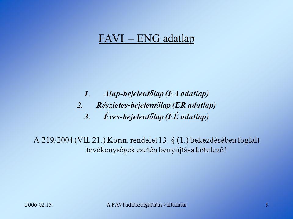 FAVI – ENG adatlap Alap-bejelentőlap (EA adatlap)