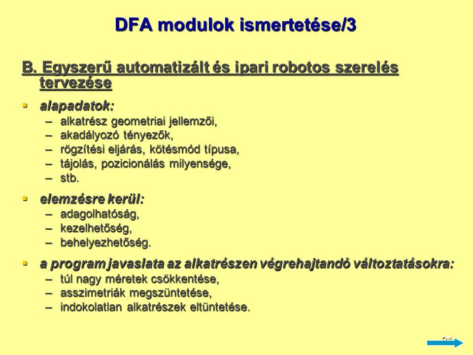 DFA modulok ismertetése/3
