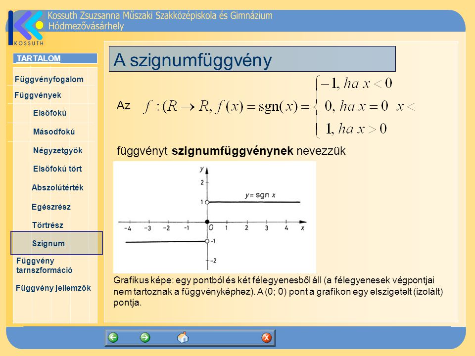 A szignumfüggvény Az függvényt szignumfüggvénynek nevezzük