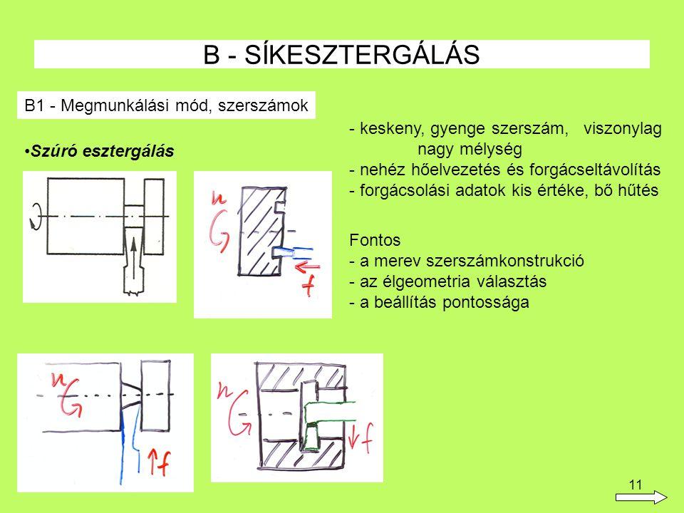 B - SÍKESZTERGÁLÁS B1 - Megmunkálási mód, szerszámok