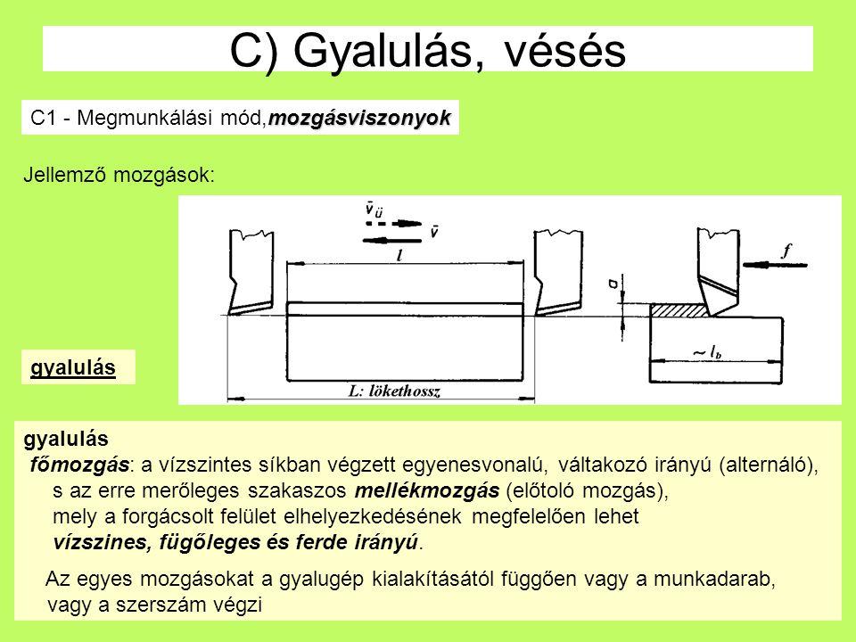C) Gyalulás, vésés C1 - Megmunkálási mód,mozgásviszonyok
