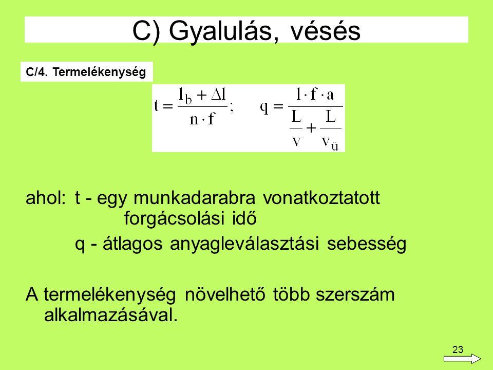 C) Gyalulás, vésés C/4. Termelékenység. ahol: t - egy munkadarabra vonatkoztatott forgácsolási idő.