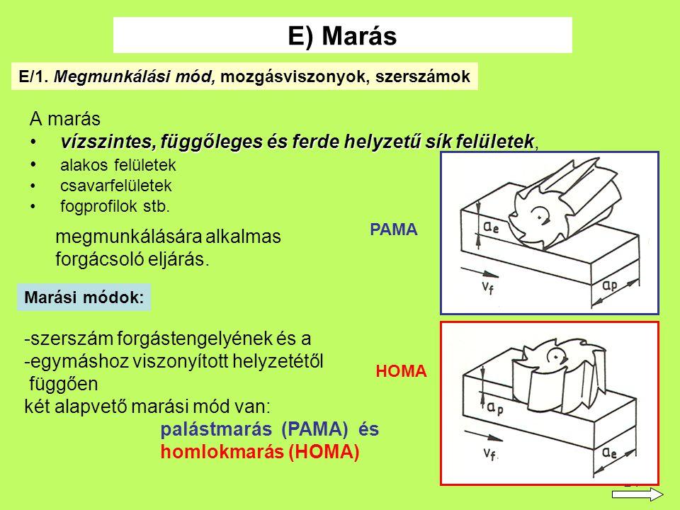 E) Marás E/1. Megmunkálási mód, mozgásviszonyok, szerszámok. A marás. vízszintes, függőleges és ferde helyzetű sík felületek,