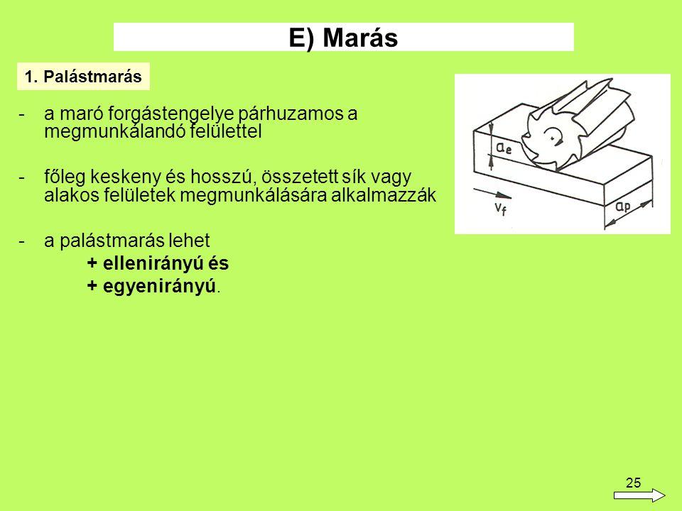E) Marás a maró forgástengelye párhuzamos a megmunkálandó felülettel