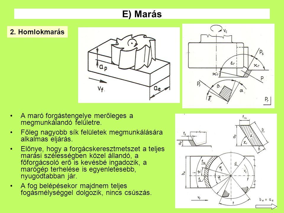 E) Marás 2. Homlokmarás. A maró forgástengelye merőleges a megmunkálandó felületre. Főleg nagyobb sík felületek megmunkálására alkalmas eljárás.