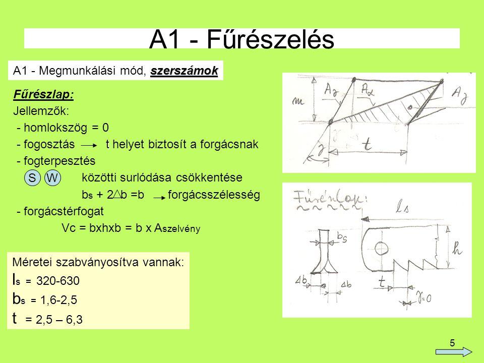 A1 - Fűrészelés ls = 320-630 bs = 1,6-2,5 t = 2,5 – 6,3
