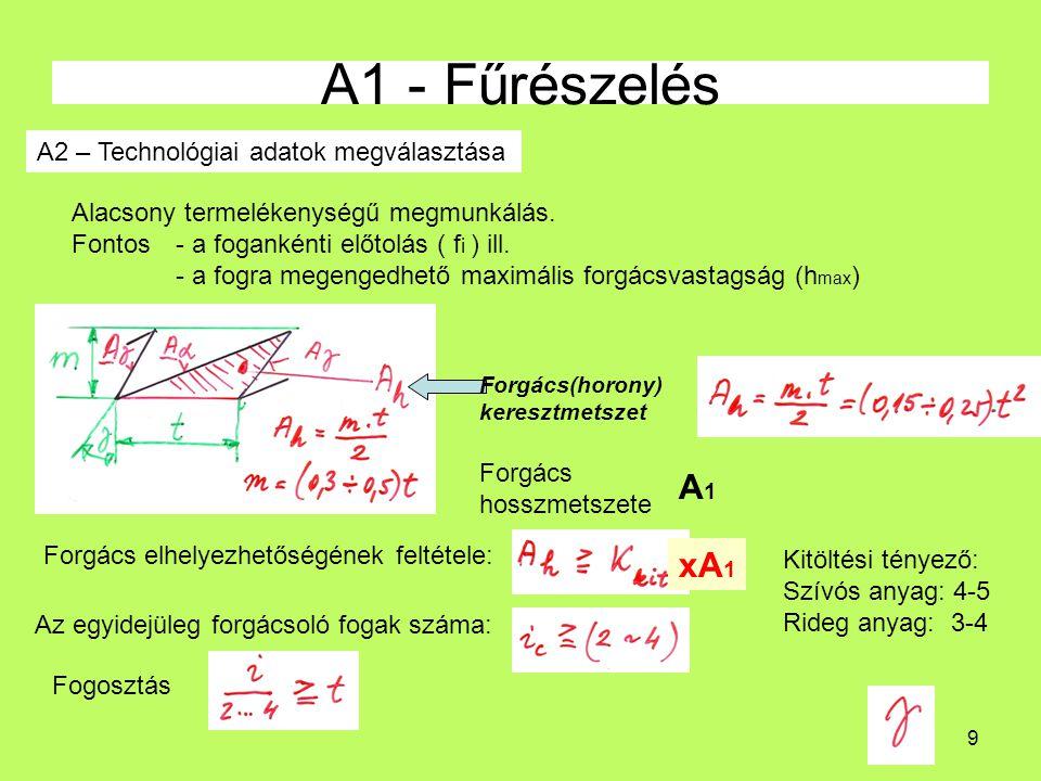 A1 - Fűrészelés A1 xA1 A2 – Technológiai adatok megválasztása