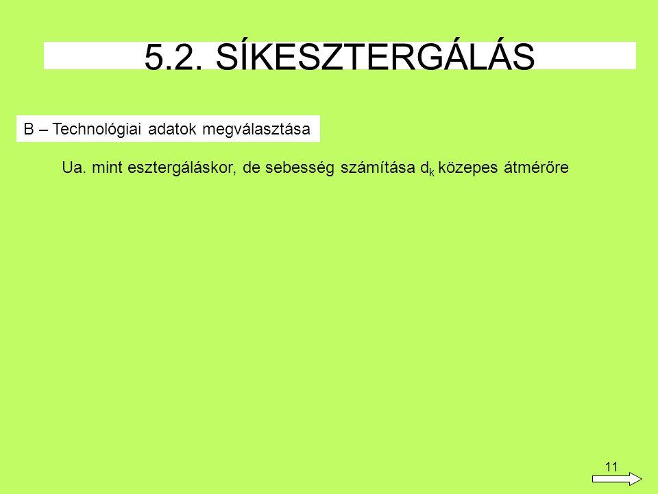 5.2. SÍKESZTERGÁLÁS B – Technológiai adatok megválasztása
