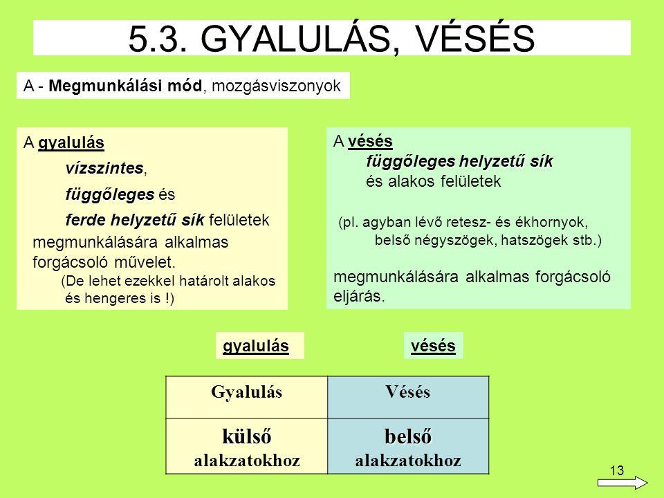 5.3. GYALULÁS, VÉSÉS külső alakzatokhoz belső alakzatokhoz Gyalulás