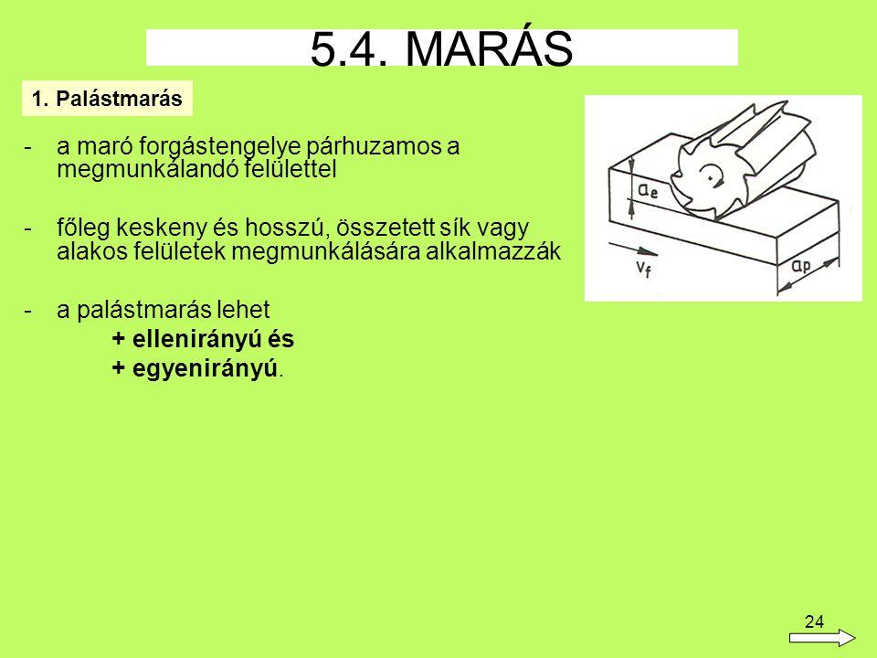 5.4. MARÁS a maró forgástengelye párhuzamos a megmunkálandó felülettel
