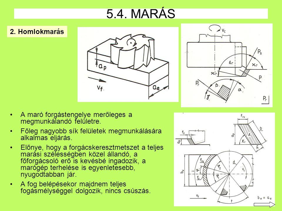 5.4. MARÁS 2. Homlokmarás. A maró forgástengelye merőleges a megmunkálandó felületre. Főleg nagyobb sík felületek megmunkálására alkalmas eljárás.