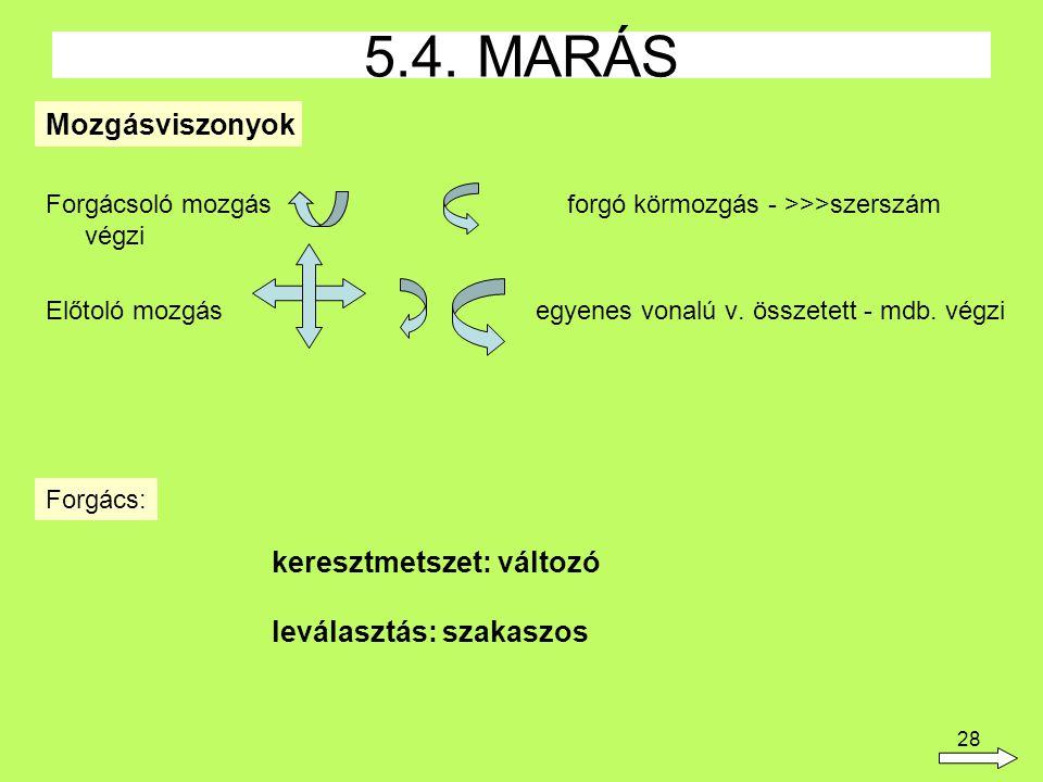 5.4. MARÁS Mozgásviszonyok keresztmetszet: változó