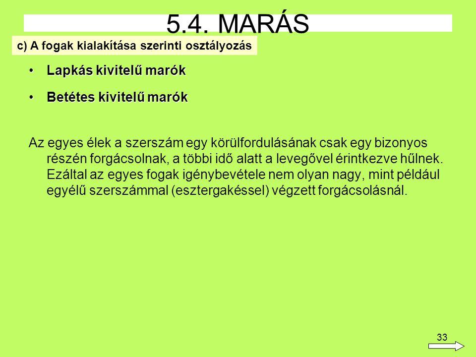 5.4. MARÁS Lapkás kivitelű marók Betétes kivitelű marók