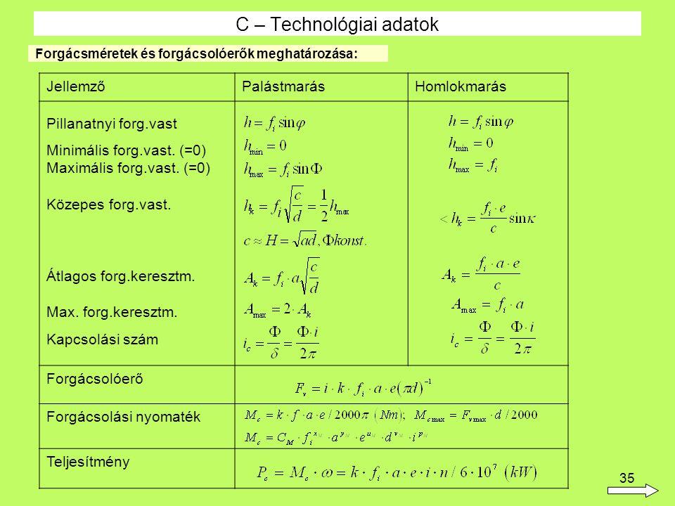 C – Technológiai adatok