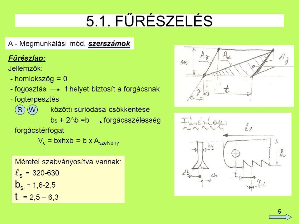 5.1. FŰRÉSZELÉS ls = 320-630 bs = 1,6-2,5 t = 2,5 – 6,3