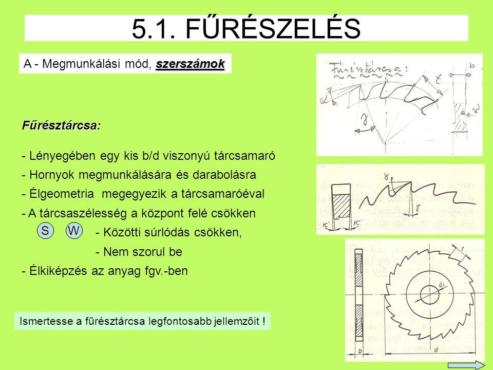 5.1. FŰRÉSZELÉS A - Megmunkálási mód, szerszámok Fűrésztárcsa: