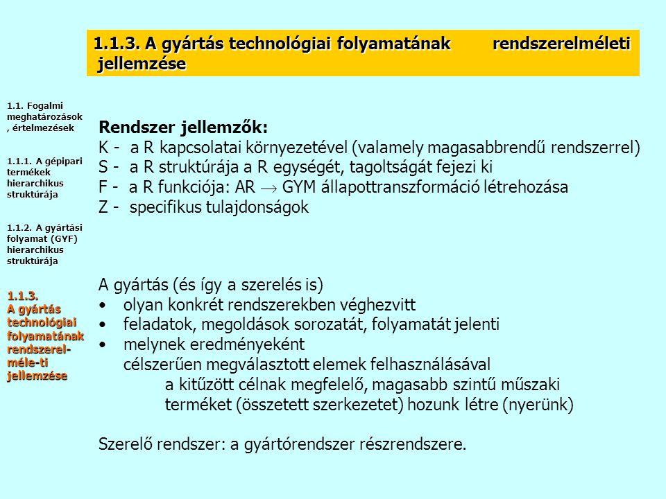 1.1.3. A gyártás technológiai folyamatának rendszerelméleti jellemzése