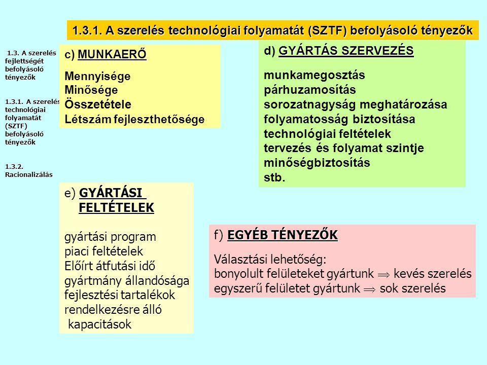 1.3.1. A szerelés technológiai folyamatát (SZTF) befolyásoló tényezők