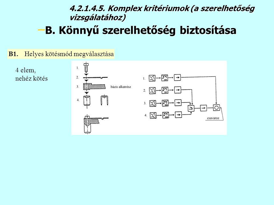 4.2.1.4.5. Komplex kritériumok (a szerelhetőség vizsgálatához)