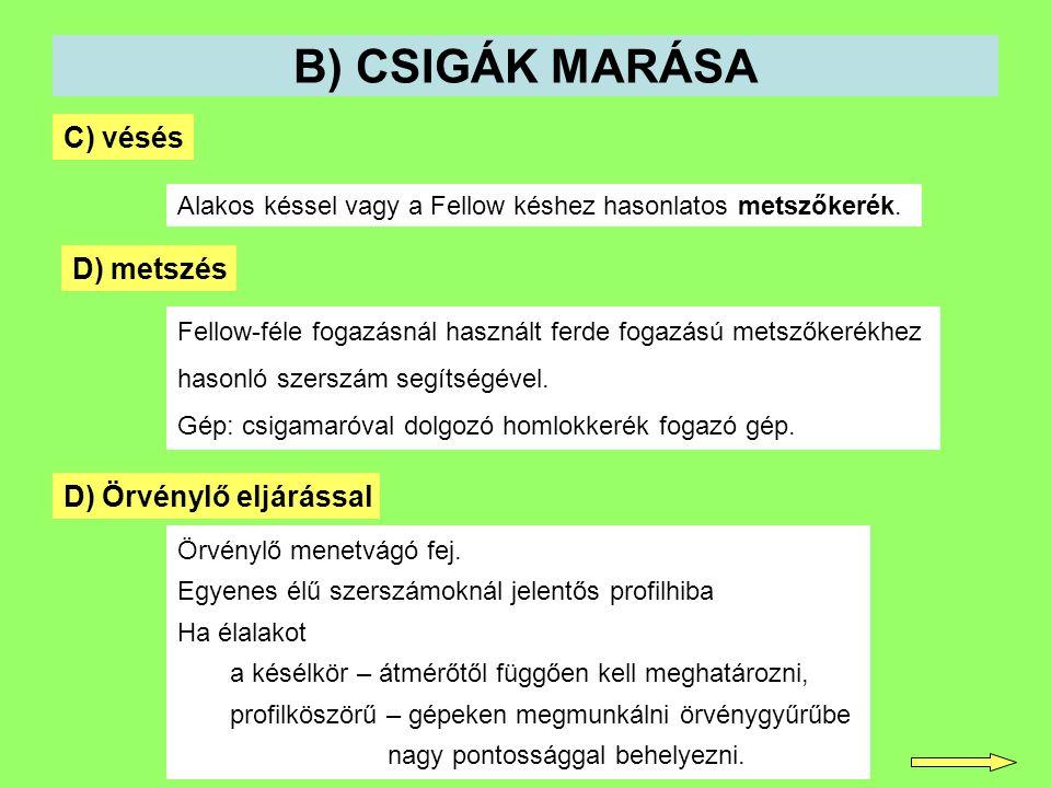 B) CSIGÁK MARÁSA C) vésés D) metszés D) Örvénylő eljárással