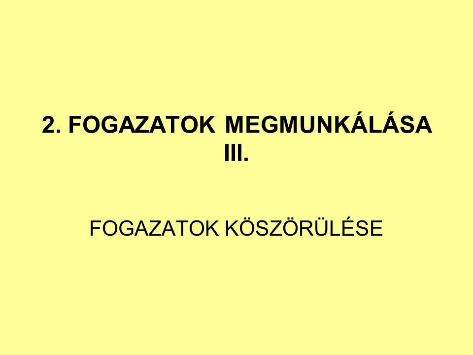 2. FOGAZATOK MEGMUNKÁLÁSA III.