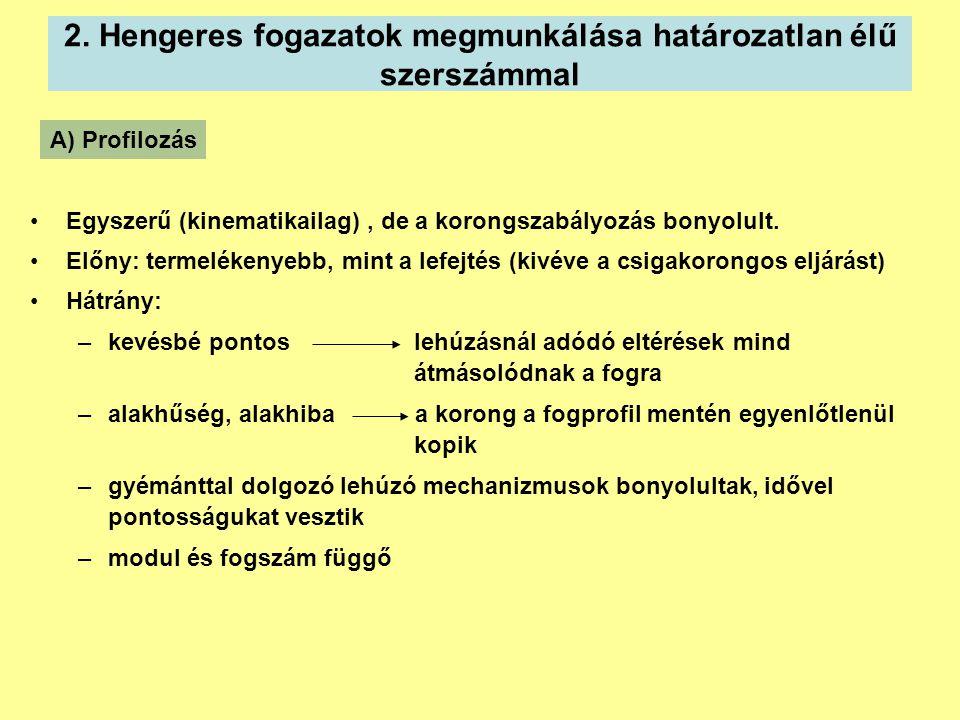 2. Hengeres fogazatok megmunkálása határozatlan élű szerszámmal