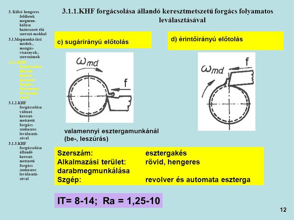 3. Külső hengeres felületek megmun-kálása határozott élű szerszá-mokkal