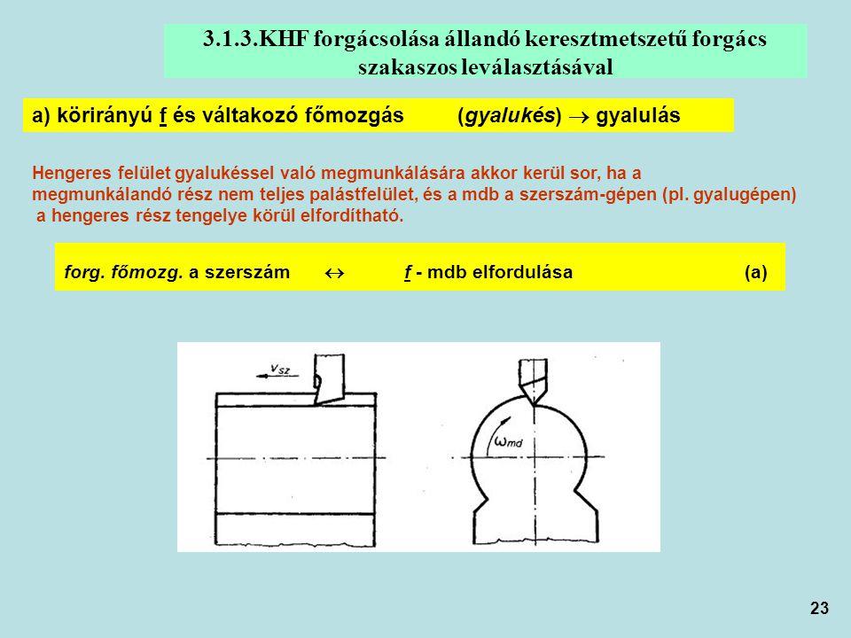 3.1.3.KHF forgácsolása állandó keresztmetszetű forgács szakaszos leválasztásával