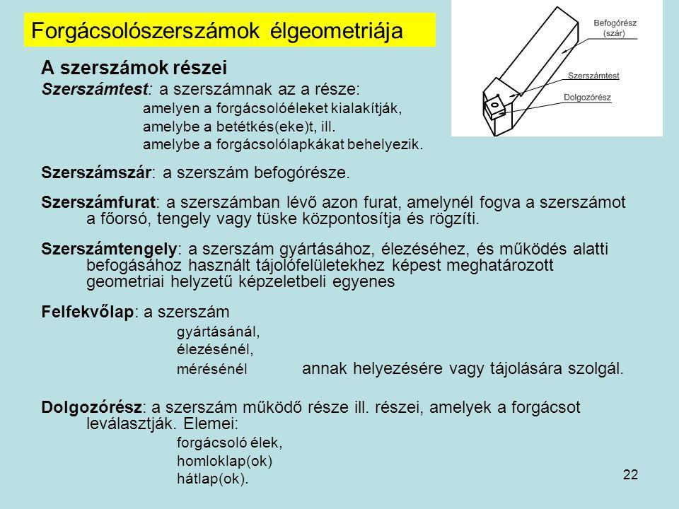 Forgácsolószerszámok élgeometriája