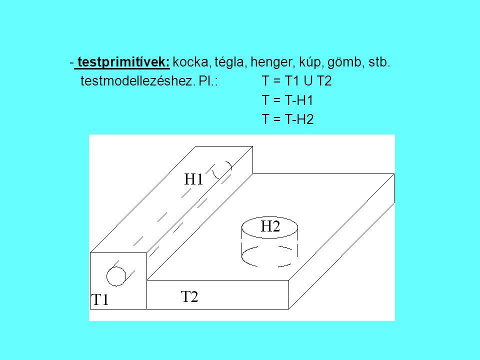 testprimitívek: kocka, tégla, henger, kúp, gömb, stb.