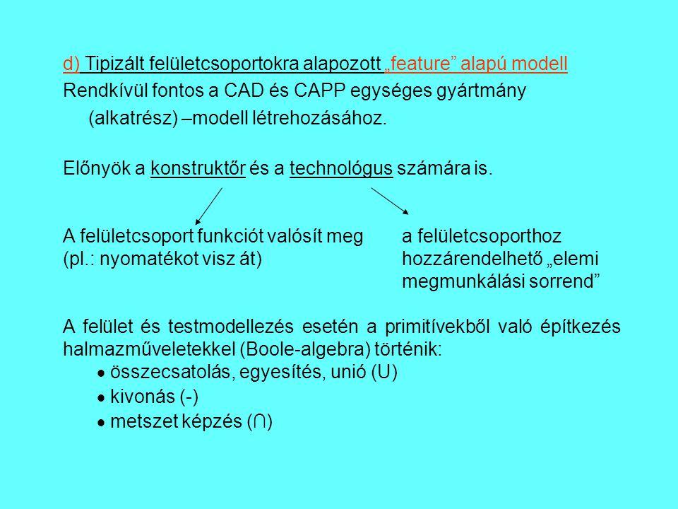 """d) Tipizált felületcsoportokra alapozott """"feature alapú modell"""