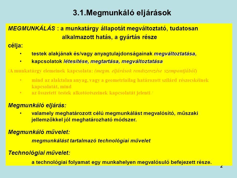 3.1.Megmunkáló eljárások MEGMUNKÁLÁS : a munkatárgy állapotát megváltoztató, tudatosan. alkalmazott hatás, a gyártás része.