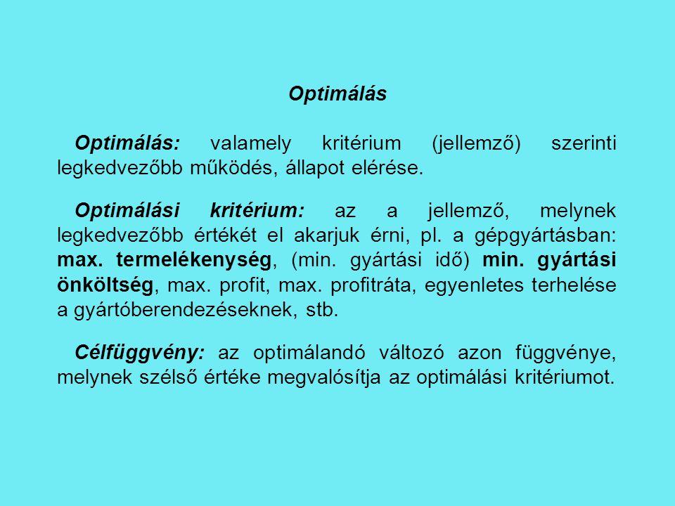 Optimálás Optimálás: valamely kritérium (jellemző) szerinti legkedvezőbb működés, állapot elérése.