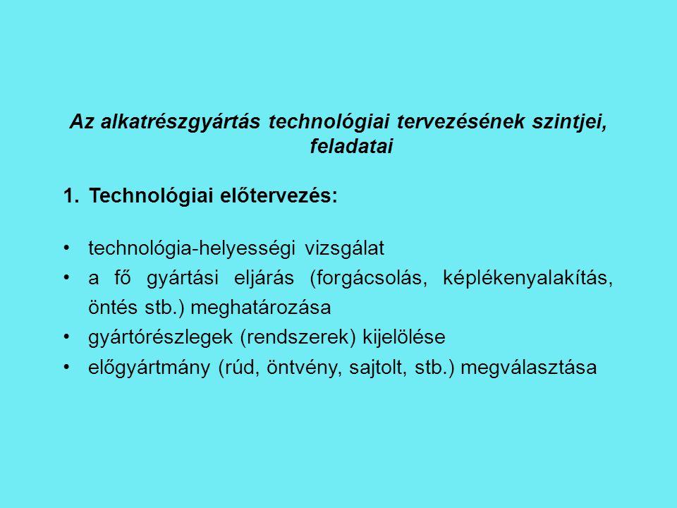 Az alkatrészgyártás technológiai tervezésének szintjei, feladatai
