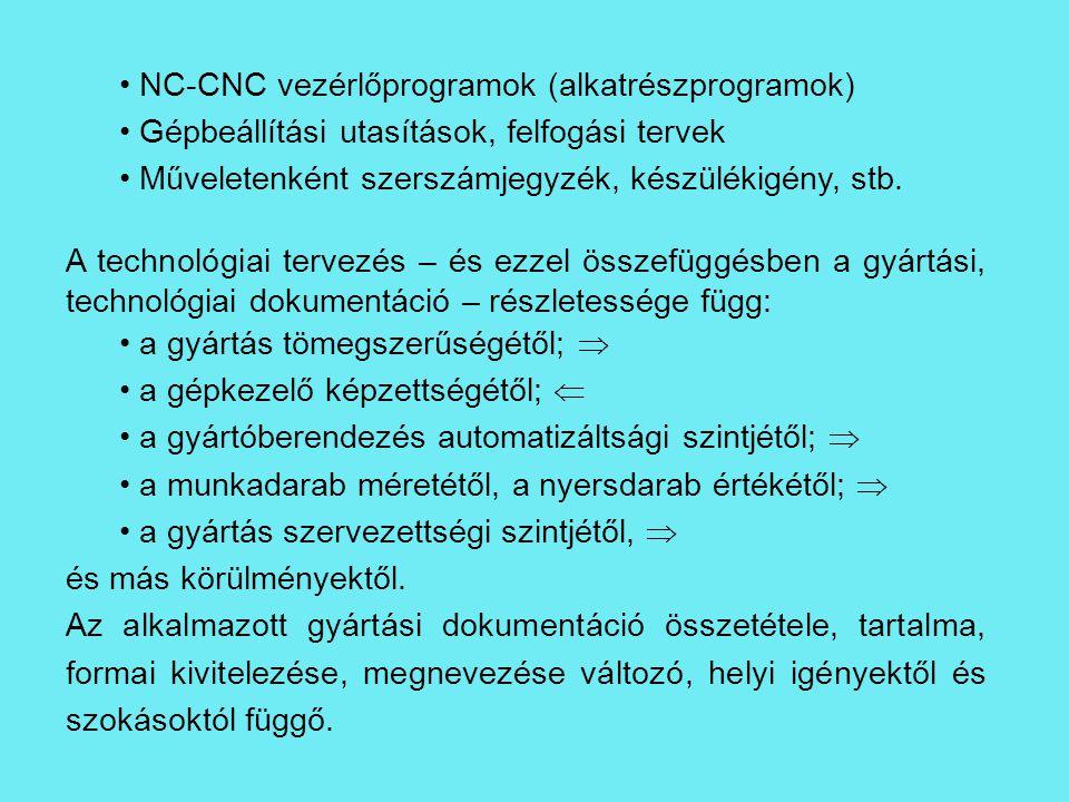NC-CNC vezérlőprogramok (alkatrészprogramok)