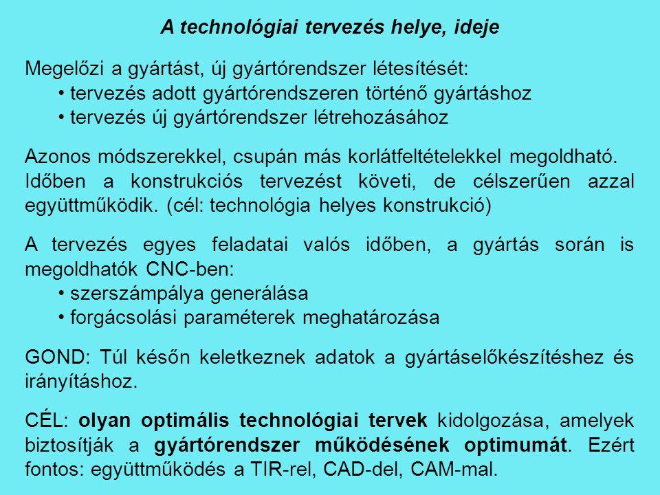 A technológiai tervezés helye, ideje